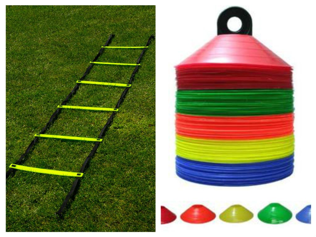 """Scara viteză (3 metri) + Set 50 copete + Cartea """"50 Exerciții pentru pregătire fizică în jocul de fotbal"""""""